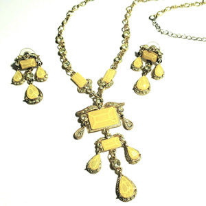Yellow Statement Necklace Earring Set Gold Y Neck